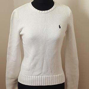 Ralph Lauren Sport White Sweater Button Shoulder